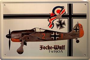 Focke-Wulf-Fw190A-Avion-de-Chasse-Panneau-Metallique-Plaque-Voute-Etain-Signer