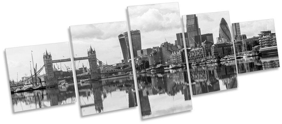 London City Skyline Reflection B&W CANVAS WALL WALL WALL ART Five Panel Print Picture 756b4b