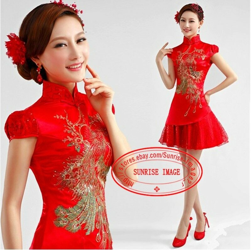 Cheongsam Formal Evening Prom Party dress Dress Ball Gown mandarin collar FS189