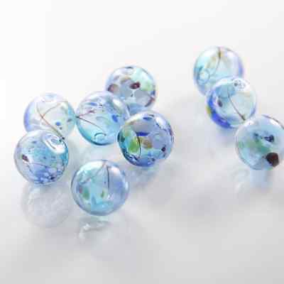 10pcs Hand Blown Hollow Glass Beads-Blue with Multiple Colors 13.5mm