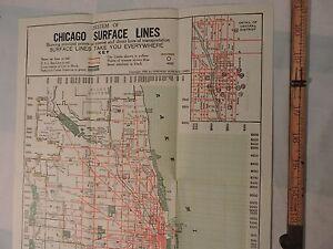 Details about Rare 1929 Chicago CTA Transit EL Subway 14x21 Map