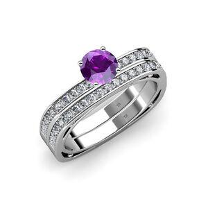 Amethyst And Diamond Engagement Ring Wedding Band Set 1 15 1 19 Ct
