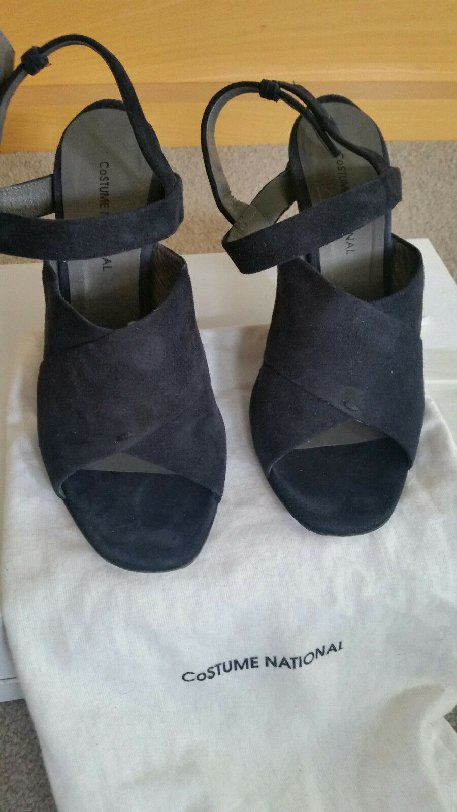 Costume National Sandals with Heel Navy Suede Size EU36.5