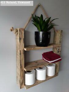 Reclaimed-Hanging-echelle-etagere-avec-corde-12-tons-Handmade-Rustique-Massif-Bois