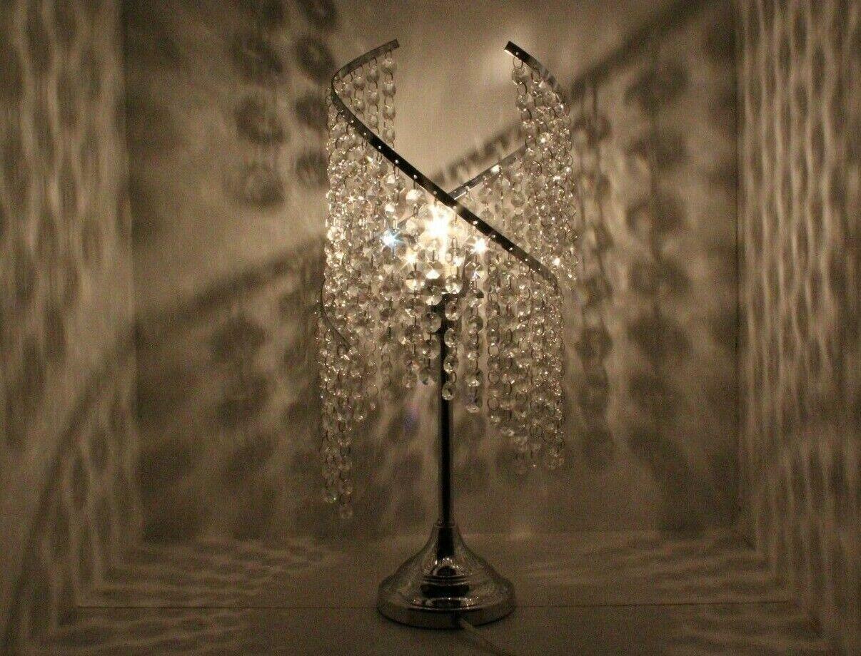 Stunning Swirl Jewel Table Lamp, Handing Jewels Spiral For Stunning Shadow Effec