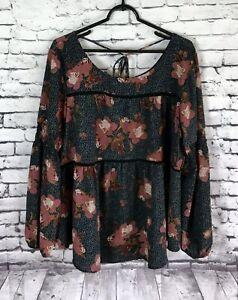 Knox-Rose-Gorgeous-Floral-Blouse-Women-039-s-size-XXL