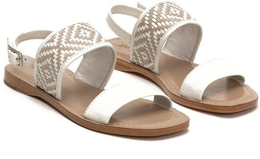 258 NEW FRYE Sz7.5US LEATHER HAYLEY WOVEN SLING FLAT SANDALS WHITE MULTI