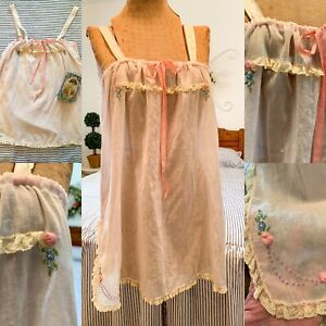 Vintage 1920s Pink Pajama Sleepwear Top Nightgown Lingerie w/ Lace & Embroidery