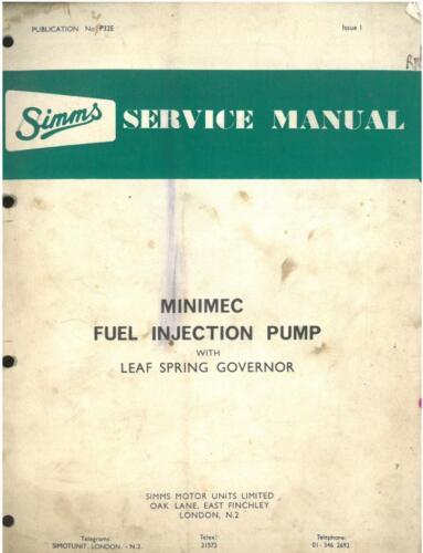 Bomba de inyección de combustible minimec Simms Resorte gobernador Taller Manual De Servicio