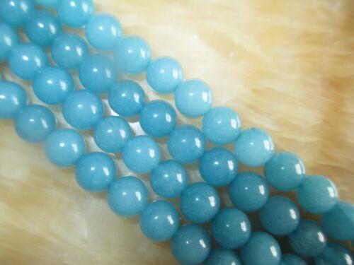 """8 mm bleu brésilien Aigue-marine Gemme Jade Loose Beads 15/"""" # MJ299"""
