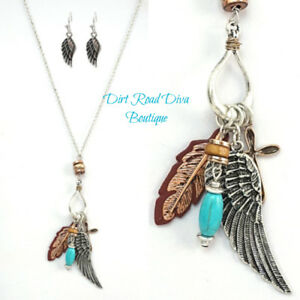 Western-Boho-Necklace-amp-Earring-SET-Angel-Wing-Feather-Cross-Turquoise-NWT
