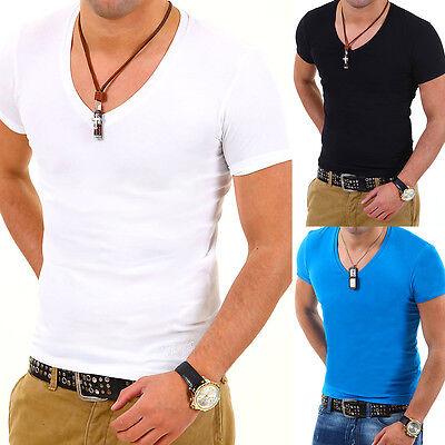 BEHYPE Herren Basic Deep V-Neck T-Shirt Slim Fit Weiß/Schwarz/Grau/Blau NEU
