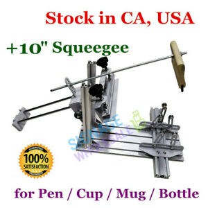 USA Cylinder Screen Printing Press with 10in Squeegee for Pen //Cup //Mug //Bottle
