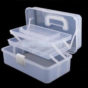 3 Tier Clear Plastic Organiser Storage Hobby Craft Box Tool