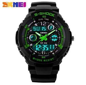 Reloj-Digital-Pulsera-Hombre-Casual-Deportivo-Correa-Negro-Verde-Watch-Men-Sport