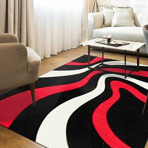 Détails sur Tapis Design Moderne Salon avec Vagues Rayé Contours Noir Rouge  Neuf