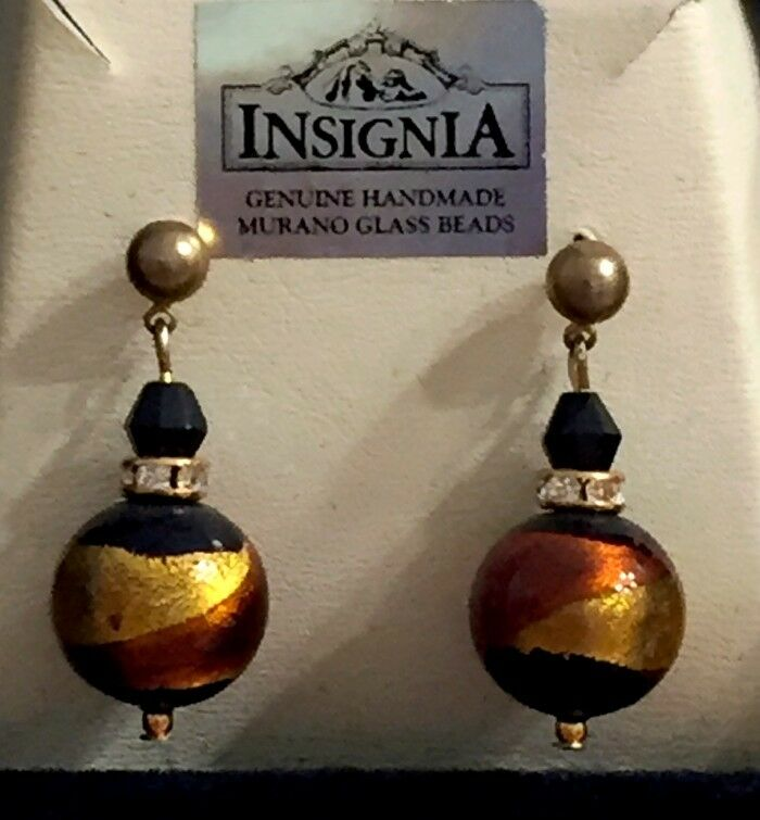 Murano Glass Earrings on gold Plate - Belmondo Amber - Made in  Gift Boxed