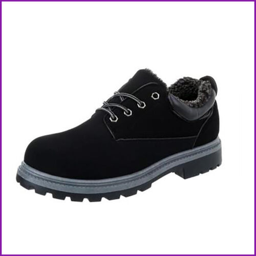 Mens Faux Fur Lined Walking Casual Boots New Black /& Grey Faux Nubuck Leather