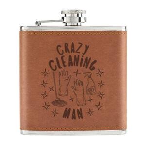 Crazy-Nettoyage-Homme-Stars-170ml-Cuir-PU-Hip-Flasque-Fauve-Papa-Fete-des-Peres
