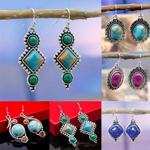 Stud-Crystal-Gemstone-Natural-Stone-Eardrop-Turquoise-Dangle-Earrings-Citrine