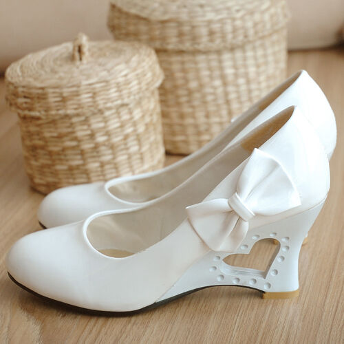 Sweet Women Bow High Heart Heel Wedge Pumps shoes Plus Size Wedding Ladies Pumps