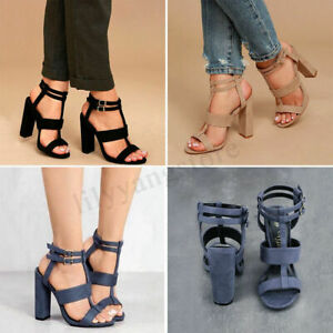 Women-Summer-Buckle-Block-High-Heels-Sandals-Open-Toe-Ankle-Strap-Shoes-Size-1