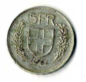 Moneda-Suiza-1951-B-5-francos-suizos-plata-835-silver-coin