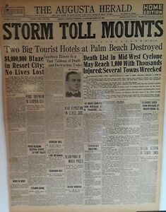 1925 Vintage Newspaper Mid-West Tornado Death Toll 1000-Palm Beach Hotels Burn