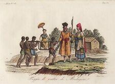 Afrika - Madagaskar - Ostafrika - Kostüm - 1825 - Sasso - handkoloriert - Grafik