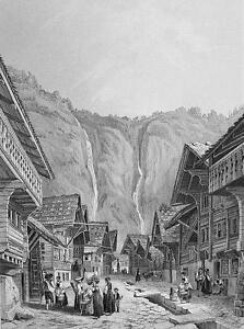 SWITZERLAND-Meyringen-Site-of-Sherlock-Holmes-Demise-Antique-Print-Engraving