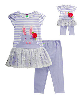 """DOLLIE ME GIRL OUTFIT Tunic Leggins SET 5 6 6X 7 8 FITS AMERICAN GIRL 18/"""" DOLLS"""