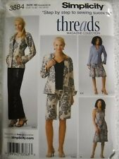 8 Jacket And Dress Or Top Sewing Pattern UNCUT Size 6 14 12 Gaucho 10 Simplicity 3800 Threads Magazine Knit Pants