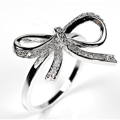 Pascollato Jewelry Sterling Silver Pave Ribbon Bow Cz Silver Cocktail Ring Whit