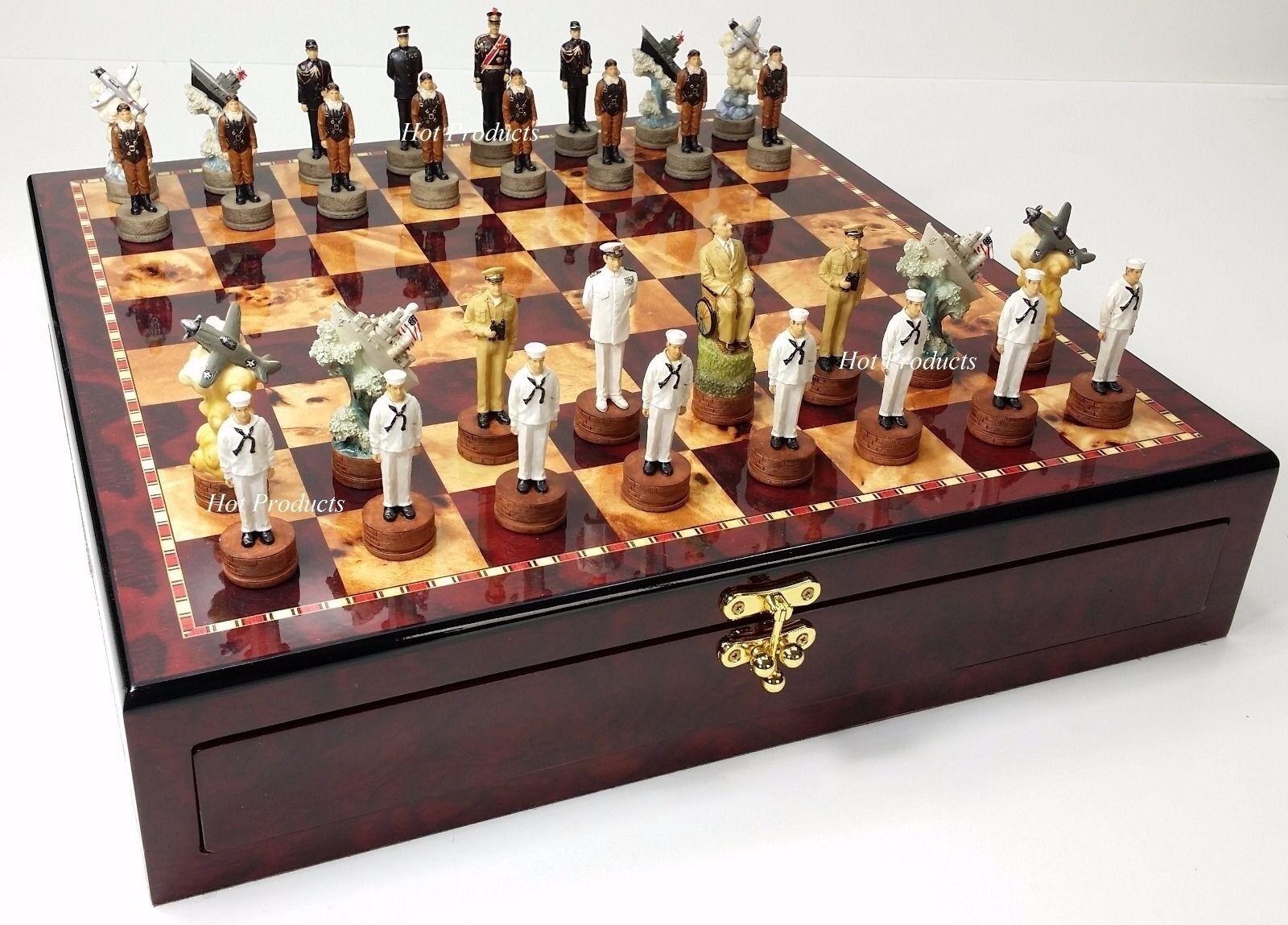 WW2 Pearl Harbor nous V Japan Chess Set 17  Cherry couleur de conservation Board Guerre mondiale 2