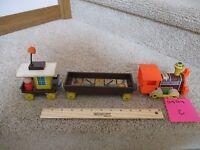 Vintage Fisher Price Pull toy Wood Magnetic Chug Chug Choo Train 3 Piece Lot C