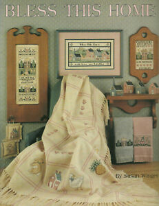Bless-This-House-Samplers-Cross-Stitch-Pattern-Leaflet-Towels-Afghan-MiniPillows