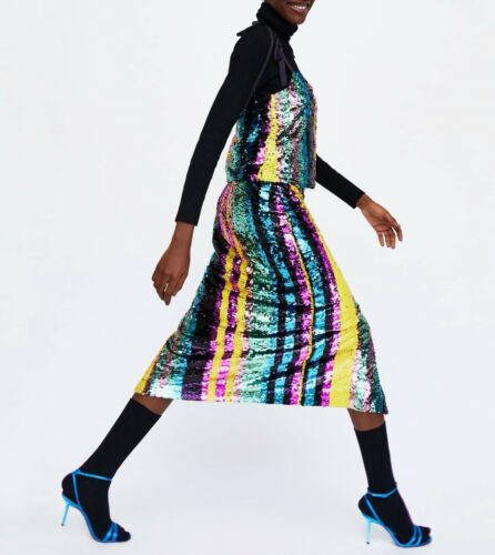 à Sequinned Blogueurs Bretelles Taille Top Zara 10 S Uk Multicolores Fav 8 CtwwZqxS