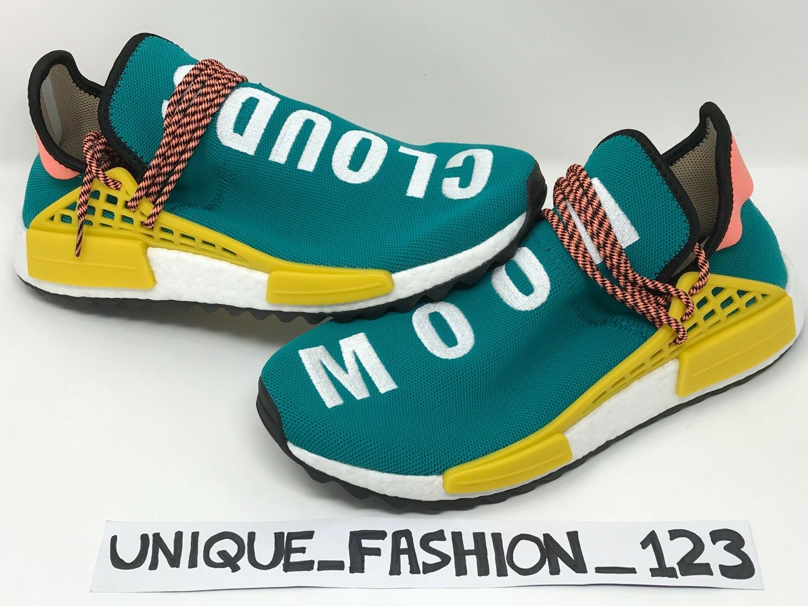 ADIDAS NMD HUMAN RACE PHARRELL HU TR PW UK 7 8 9 10 11 TRAIL GREEN TEAL SUN GLOW