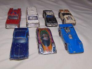 Lot-of-7-Vintage-Hot-Wheels-REDLINES-P-917-Police-Car-Fire-Truck-Ambulance