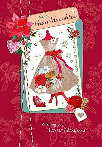 Granddaughter Modern Lovely Dress Christmas Greeting Card Lovely Verse