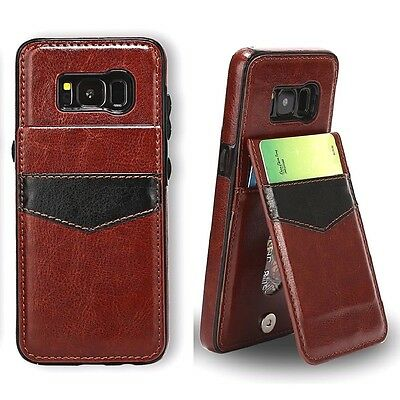 Samsung Galaxy S6 S7 S8 Luxury Leather Card Holder Wallet Stand Back Cover Case