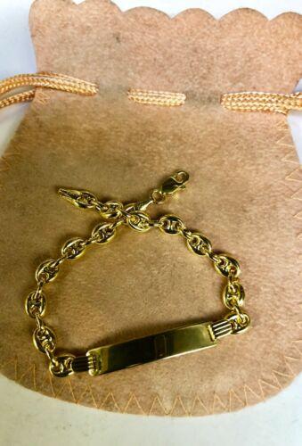 "14k Yellow Gold ID Puffed Anchor Mariner 6/"" Childrens Bracelet 4.7 MM 3.5 grams"