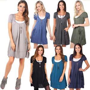 KRISP-Women-2-in-1-Boho-Gypsy-Tunic-Dress-Top-Tee-Jersey-Pleated-A-Line-Necklace