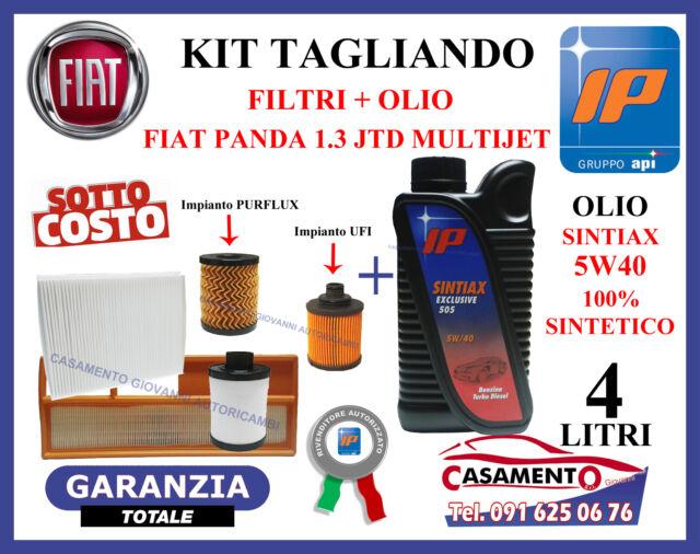 KIT TAGLIANDO OLIO MOTORE IP SINTIAX 5W40 + FILTRI FIAT PANDA 1.3 MULTIJET