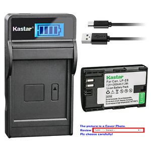 Kastar-Battery-LCD-Charger-for-Canon-LP-E6-LP-E6N-LC-E6-amp-Canon-EOS-60D-Camera