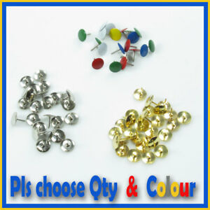 100-400-Drawing-Pins-Thumb-Tacks-Push-Map-BRASS-SILVER-Assorted-Colours