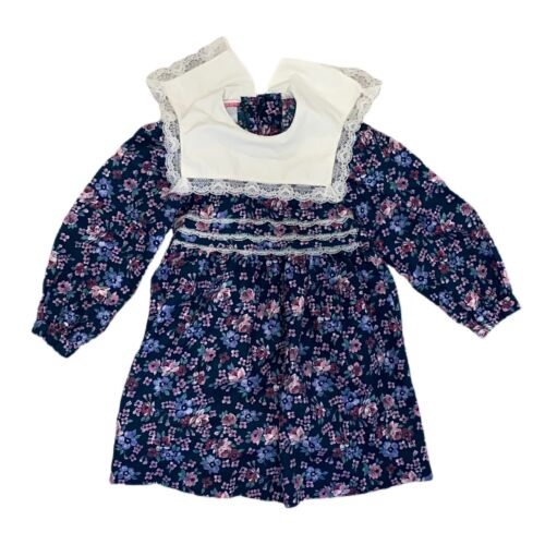 Vintage Girls Polly Flinders Dress Blue Floral Smocked Party Dress with Lace Collar High Waist Tie Back Button Back Dress Size 5-6