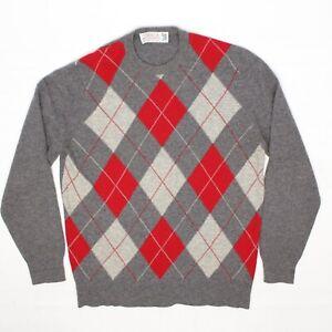 VTG-Glenmac-Mens-Cashmere-Sweater-S-38-Gray-Red-Argyle-Crew-Neck-Pullover-Soft