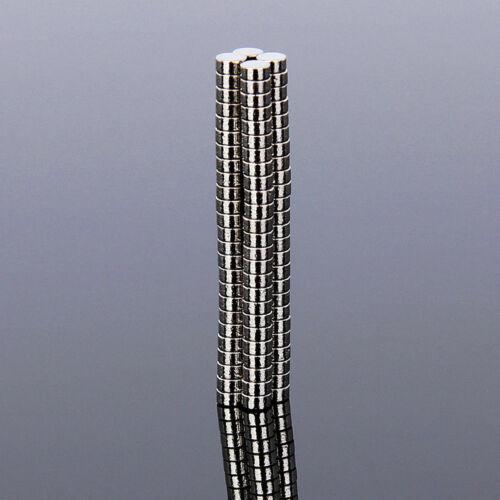 100x Extreme Stark Neodym Power Magnete Rund N35 2mm x 1mm Selbstklebend Flach