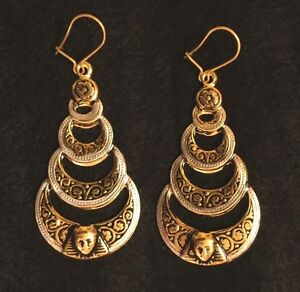 Image Is Loading Vintage Toledo Spain Earrings 24k Gold Plate Damascene